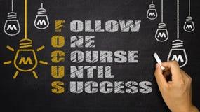 Nadrukacroniem: volg één cursus tot succes stock afbeeldingen