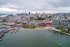 Nadwodny Parkowy molo, zatoczka i Miejski molo w San Francisco, obrazy royalty free