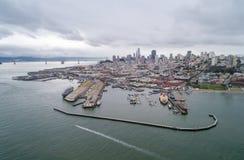 Nadwodny Parkowy molo, zatoczka i Miejski molo w San Francisco, zdjęcie stock