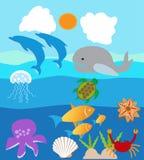 Nadwodny Zwierzęcy życie w morza lub oceanu wodzie Fotografia Stock