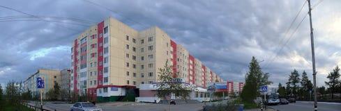 Nadym,俄罗斯- 2008年7月10日:全景 都市的横向 库存照片