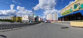 Nadym,俄罗斯- 2008年7月10日:全景 都市的横向 免版税库存照片