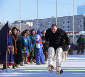 Nadym,俄罗斯- 2008年3月15日:国庆节-天o 免版税库存照片