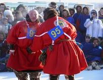 NADYM,俄罗斯- 2008年3月15日:国庆节-稀土的天 免版税库存图片