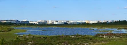 Nadym,俄罗斯- 2008年7月18日:城市的全景r的 免版税库存图片