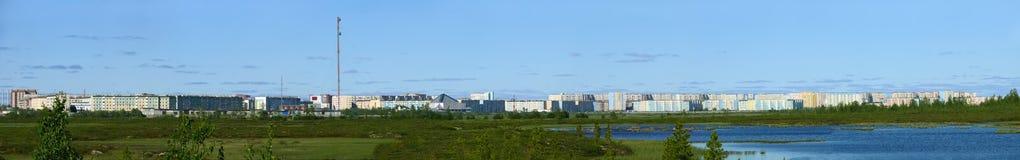 Nadym,俄罗斯- 2008年7月18日:城市的全景r的 库存照片