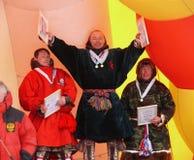 Nadym,俄罗斯- 2008年3月16日:授予胜利仪式  库存照片