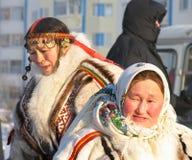 Nadym,俄罗斯- 2007年3月2日:未知的妇女- Nenets,特写镜头, 图库摄影