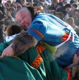 NADYM, РОССИЯ - 17-ое марта 2006: Национальный праздник - день re Стоковая Фотография