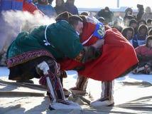 NADYM, РОССИЯ - 15-ое марта 2008: Национальный праздник - день re Стоковое Изображение