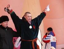Nadym, Россия - 16-ое марта 2008: Церемония награждать выигрыш Стоковая Фотография RF