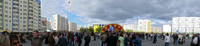 Nadym, Rússia - 28 de junho de 2006: a festa no centro de cidade em t Imagens de Stock