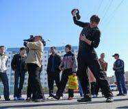Nadym, Rússia - 17 de maio de 2008: as competições no esporte desconhecido Imagens de Stock
