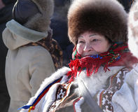 Nadym, Rússia - 15 de março de 2008: o feriado nacional, o dia de Imagem de Stock Royalty Free