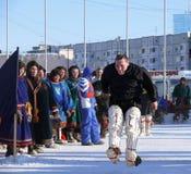Nadym, Rússia - 15 de março de 2008: o feriado nacional - o dia o Fotos de Stock Royalty Free