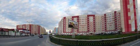 Nadym Rosja, Lipiec, - 10, 2008: panorama krajobrazowy miastowy Obrazy Stock