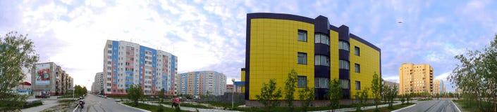 Nadym Rosja, Lipiec, - 10, 2008: panorama krajobrazowy miastowy Obrazy Royalty Free