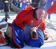 NADYM, RUSIA - 15 de marzo de 2008: Festividad nacional - día del re Imagenes de archivo