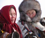 Nadym, Rusland - Maart 18, 2006: Onbekende vrouw - Nenets, close-up royalty-vrije stock foto