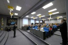 Nadym, Russia - 29 dicembre 2012: Concerto di festa Pres sconosciuti Fotografia Stock Libera da Diritti