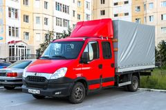 Iveco Daily 35C15. Nadym, Russia - July 14, 2018: Cargo van Iveco Daily 35C15 in the city street royalty free stock photography