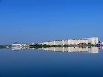Nadym, Russia - July 20, 2004: panorama of the city on the river Royalty Free Stock Photos