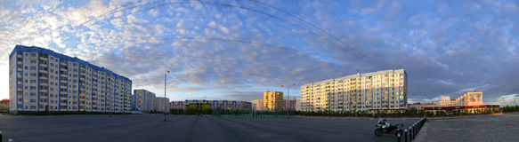 Nadym, Russia - July 10, 2008: the Panorama. Quay on the river N Stock Photography