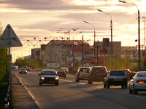 Nadym, Russia - June 26, 2008: the City skyline. Royalty Free Stock Photo