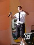 Nadym, Russia - June 28, 2008: Nikolai Hauler takes the stage on Royalty Free Stock Photos