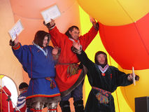 Nadym, Russia - March 16, 2008: The ceremony of awarding the win Stock Images