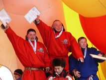 Nadym, Russia - March 16, 2008: The ceremony of awarding the win Royalty Free Stock Images