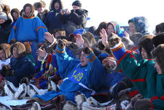 Nadym, Russia - March 15, 2008: A crowd of unfamiliar men Nenets Stock Photography