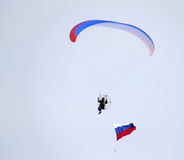 Nadym, Russia - March 16, 2008: Unknown man flying through the s Stock Photography