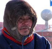 Nadym, Russia - March 11, 2005: Unknown man Nenets close-up, por Stock Photo
