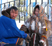 Nadym, Russia - March 11, 2005: Unknown man and woman - Nenets s Royalty Free Stock Photography