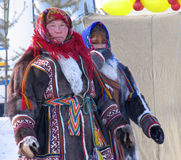 Nadym, Russia - March 18, 2006: Unknown woman - Nenets, closeup, Royalty Free Stock Image