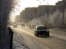 Nadym, Russia - October 15, 2006: the Centre of the city. Stock Photo