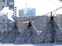 Nadym, Russie - 15 mars 2008 : l'accommodatio national de Nenets Photos libres de droits