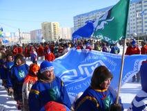 Nadym, Russland - 15. März 2008: Fremde, die Teams sind Double Stockfoto