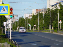 Nadym Ryssland - Juli 10, 2008: stadshorisonten Arkivbild