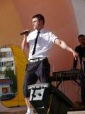 Nadym Ryssland - Juni 28, 2008: Nikolai Hauler tar på etappen Royaltyfria Bilder