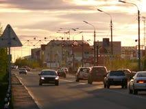 Nadym Ryssland - Juni 26, 2008: stadshorisonten Royaltyfri Foto