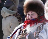 Nadym Ryssland - mars 15, 2008: den nationella ferien dagen av Royaltyfri Bild