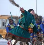 Nadym Ryssland - mars 15, 2008: den nationella ferien - dagnollan Royaltyfri Bild