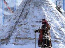 Nadym Ryssland - mars 15, 2008: den nationella Nenets accommodatioen Royaltyfri Fotografi