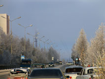 Nadym Ryssland - Oktober 15, 2006: mitten av staden Royaltyfria Foton