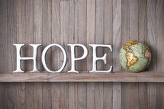 Nadziei Światowej kuli ziemskiej Drewniany tło Obrazy Royalty Free