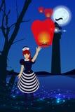 Nadziemska nocy świateł żeglarza sygnału latarnia morska royalty ilustracja