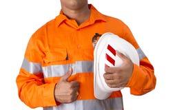 Nadzorca z budowa ciężkim kapeluszem i wysoką widoczności koszula obraz royalty free