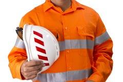 Nadzorca z budowa ciężkim kapeluszem i wysoką widoczności koszula zdjęcie royalty free